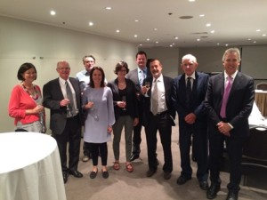 2016 Fellows, Dr Marie-Liesse Asselin-Labat and Dr Thomas Gebhardt, celebrating with Foundation Chairman, Mr George Curphey OAM, Medical Advisory Board Chairman, Prof. Peter Leedman, and other members of the Viertel Medical Advisory Board.